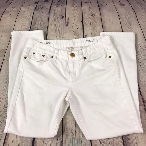 J. Crew Denim - J Crew Toothpick Ankle Skinny White Denim Jeans